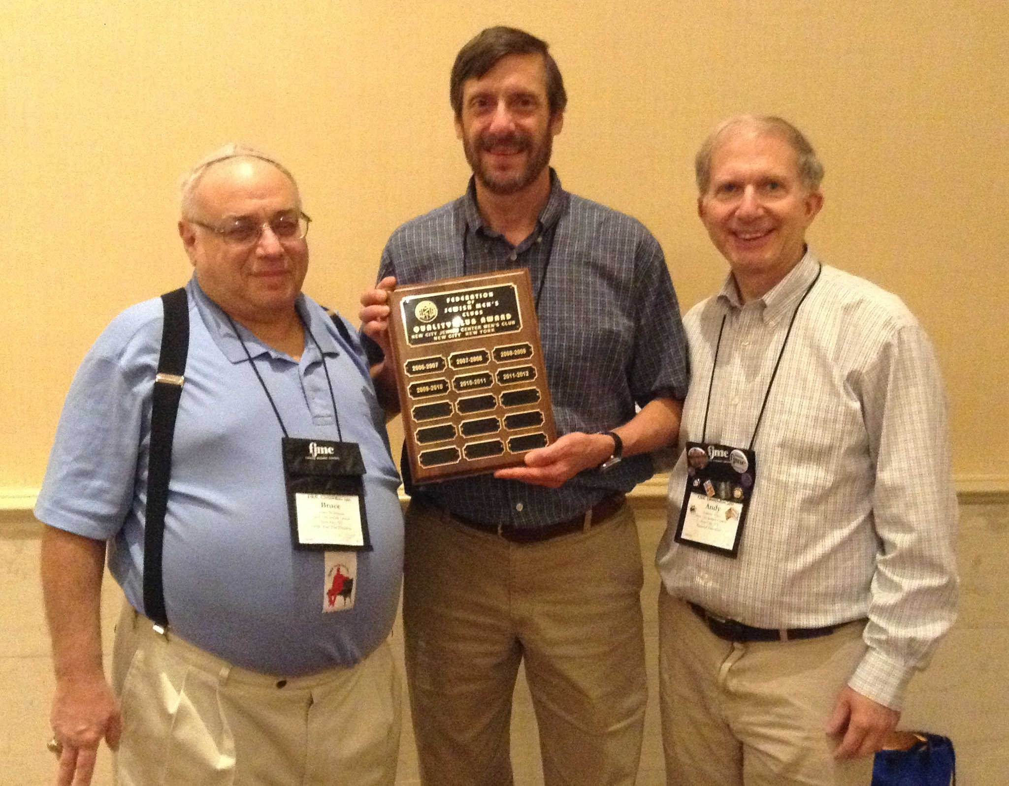 Bruce Sicherman, Bruce Green & Andy Alper with Quality Club Award.